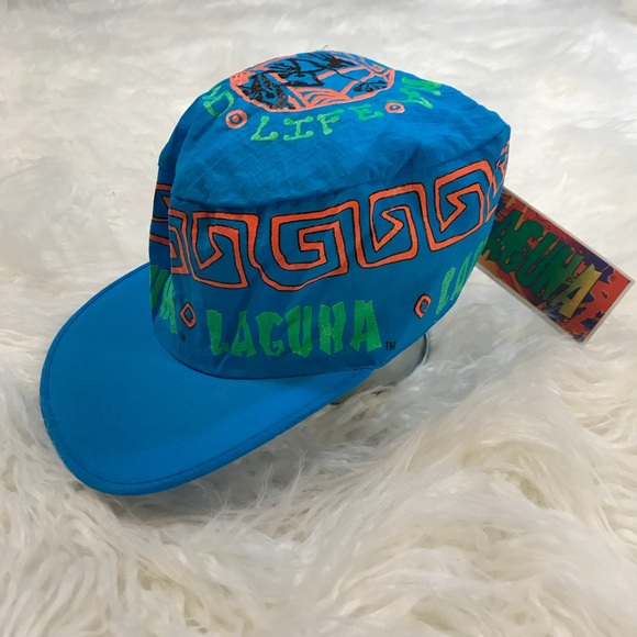 2763cb0fd19 Vintage Laguna Beach Cap Retro 90 s Neon Hat Blue